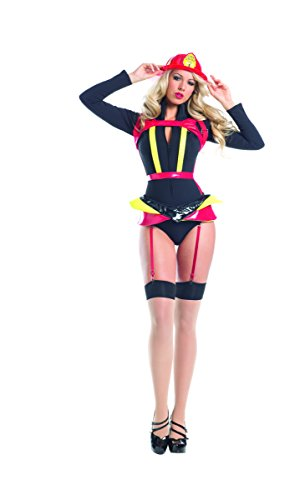 Adult Women's 4 Piece Sexy Fire Fighter Romper Halloween Party Costume