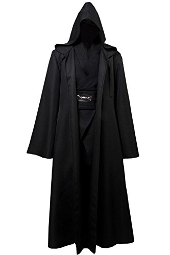 Allten Men's Cosplay Costume Black Linen Halloween Robe Tunic Outfit