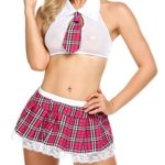 Avidlove-Women-Schoolgirls-Outfit-Costume-Lingerie-Set-with-Tie-Top-Mini-Skirt-S-Pink-0