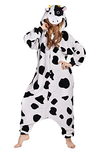 BELIFECOS Unisex Adult Pajamas Plush One Piece Cosplay Cow Animal Costume Cow