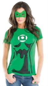 DC-Comics-Womens-Green-Lantern-T-Shirt-With-Eye-Mask-And-Ring-0