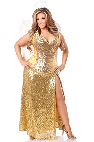 Daisy Corsets Women's 4 Pc Gold Sequin Angel Costume