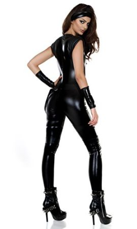 Forplay-Womens-3-Piece-Hero-Metallic-Mesh-Catsuit-Headband-and-Wristlets-0-0