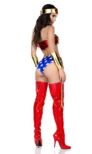 Forplay-Womens-5-Piece-Hero-Costume-Bandeau-Hdbnd-Shorts-Wristlets-Lasso-0-0