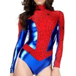 Forplay-Womens-Metallic-Mock-Neck-Bodysuit-with-Spiderweb-Print-Contrast-0