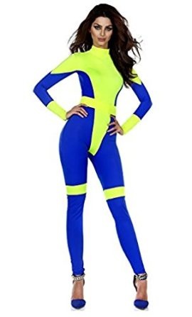 Forplay-Womens-Pretty-Powerful-Two-Tone-Mock-Neck-Catsuit-with-Belt-0-0