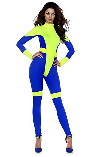 Forplay Women's Pretty Powerful Two-Tone Mock Neck Catsuit with Belt