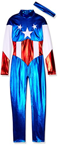 Forplay Women's Star Spangled Hero Catsuit with Stripe Waist and Headband