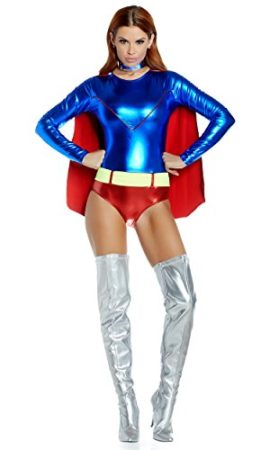 Forplay-Womens-Two-Tone-Metallic-Hero-Bodysuit-with-Attached-Cape-0-2