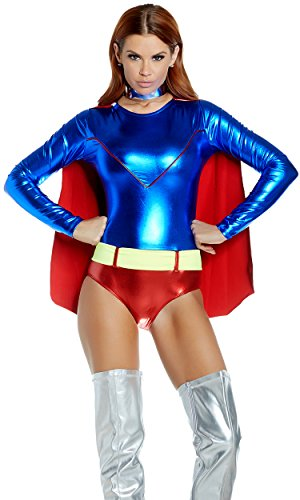 Forplay-Womens-Two-Tone-Metallic-Hero-Bodysuit-with-Attached-Cape-0