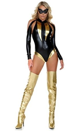 Forplay-Womens-Two-Toned-Metallic-Bodysuit-and-Sequin-Mask-0