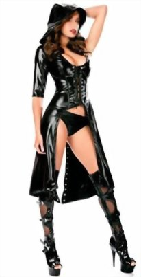 IGIG-Womens-Faux-Leather-Lace-up-Catsuit-Hooded-Cape-Cloak-Costume-0-0