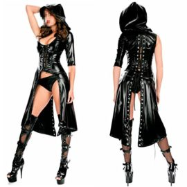 IGIG-Womens-Faux-Leather-Lace-up-Catsuit-Hooded-Cape-Cloak-Costume-0