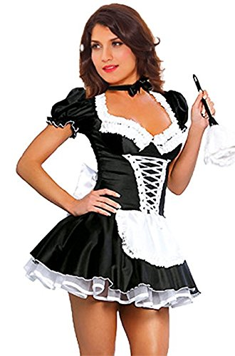 JJ-GOGO Women's French Maid Costume Sexy Black Satin Halloween Fancy Dress S-4XL