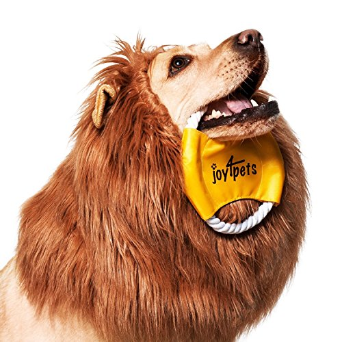 JOY4PETS-Lion-Mane-for-Dog-Frisbee-Premium-Quality-Realistic-Hilarious-Eye-Catching-Dog-Lion-Mane-Dog-Costume-with-Ears-Comfortable-Lion-Wig-for-Medium-and-Large-Dogs-Perfect-Dog-Gift-0