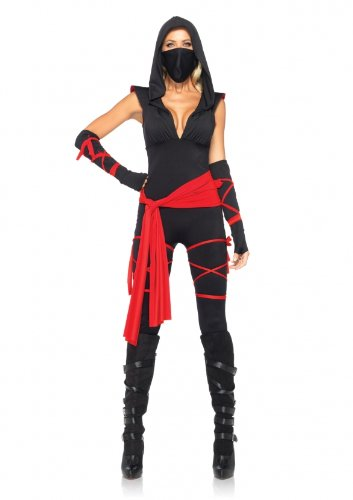 Leg Avenue Costumes 4Pc. Deadly Ninja Catsuit Waist Sash Arm Warmers Mask Wraps