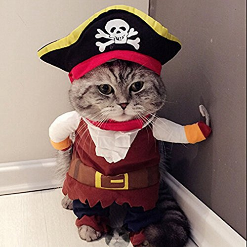 LingStar Pet Clothes Caribbean Pirate Dog Cat Costume Suit Party Apparel Clothing Plus Hat S