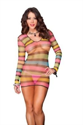 MUSIC-LEGS-Womens-Long-Sleeved-Multi-Colored-Diamond-Net-Mini-Dress-0