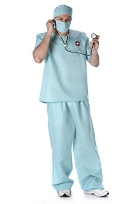 Male-Doctor-Costume-Scrub-Nurse-Costume-with-Stethoscope-Hat-and-Mask-Surgeon-Costume-for-Halloween-and-Costume-Dressup-0-0