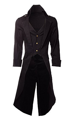 Men's Steampunk Overcoat with Tail Gothic Long Coat Halloween Costume