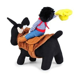 Pet-Costume-Apparel-Dog-Riders-Cowboy-Wear-Style-Knight-Harness-Clothing-with-Hat-L-0-2