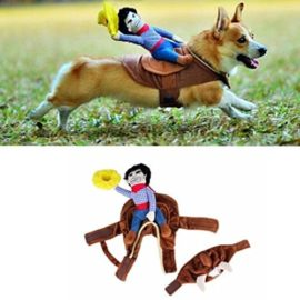 Pet-Costume-Apparel-Dog-Riders-Cowboy-Wear-Style-Knight-Harness-Clothing-with-Hat-L-0