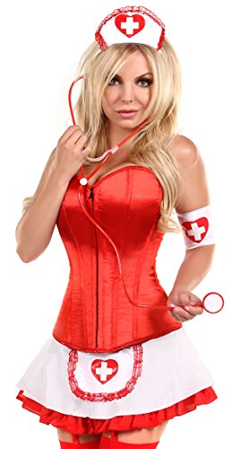 Red-Women-4-pcs-Sexy-Nurse-Corset-Costume-with-Skirt-Halloween-Cosplay-Outfit-0-1