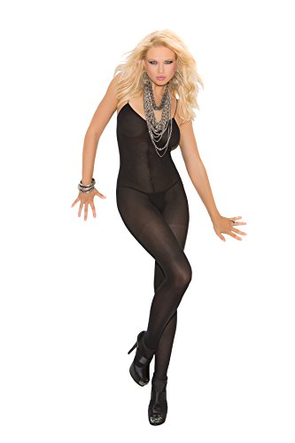 Sexy Women's Plus Size Spaghetti Strap Open Crotch Opaque Bodystocking Lingerie