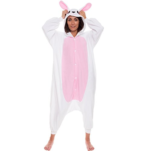Silver Lilly Unisex Adult Pajamas – Plush One Piece Cosplay Bunny Animal Costume