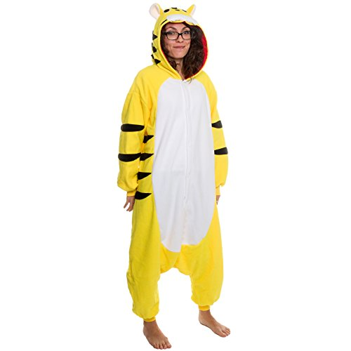 Silver Lilly Unisex Adult Pajamas – Plush One Piece Cosplay Tiger Animal Costume