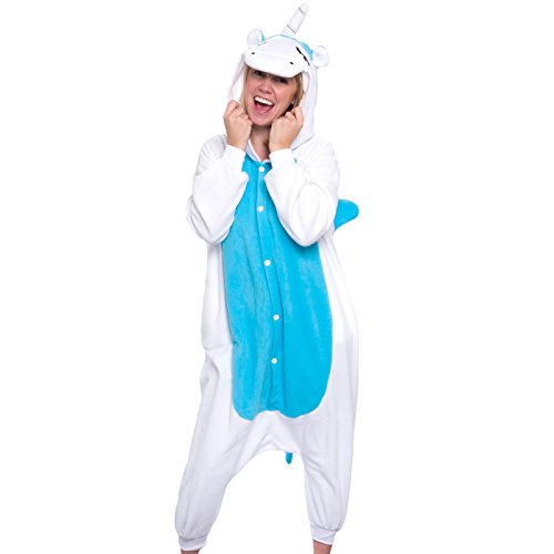 Silver Lilly Unisex Adult Pajamas – Plush One Piece Cosplay Unicorn Animal Costume