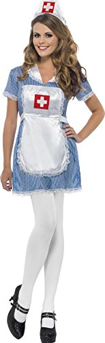 Smiffy's Women's Nurse Naughty Costume with Dress Apron and Hat