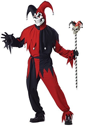 UHC Men's Evil Jester Renaissance Scary Skull Theme Party Halloween Costume