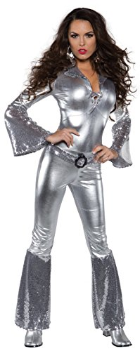 Underwraps Costumes Women's Silver Metallic Jumpsuit Costume – Foxy