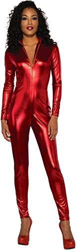 Womens-Red-Secret-Agent-Slinky-Metallic-Stretch-Jumpsuit-Costume-0