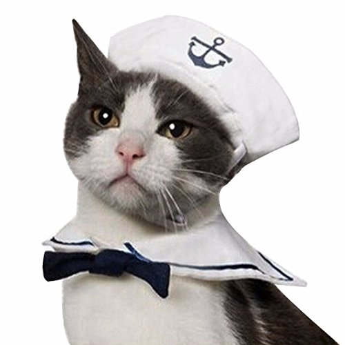 iEFiEL Cats Puppy Rabbit Pets Cute Sailor Little Captian Costume Outfit Hat & Cape Set