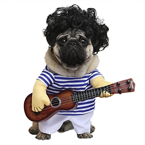 wowowo-Dog-Costume-for-Small-Medium-Dogs-Cats-Super-Funny-Crazy-Guitarist-Style-Dog-Clothes-with-Pet-Curly-Wig-Best-for-Weekend-Parties-Birthday-Halloween-Christmas-0