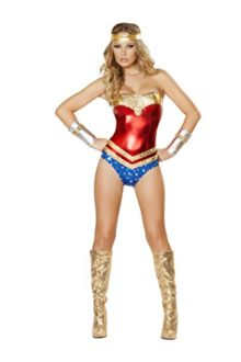 2-Piece-Super-Girl-Wonder-Woman-Miss-Superman-Rhinestone-Romper-Costume-0