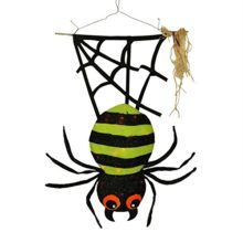 31-LED-Lighted-Lime-Green-and-Black-Striped-Creepy-Tinsel-Hanging-Spider-Halloween-Decoration-0
