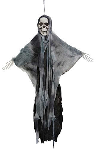 35 Inch Hanging Fabric Poseable Skull Ghost Halloween Decoration
