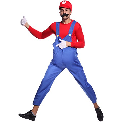 80s-Mens-Adult-Super-Mario-Luigi-Plumber-Bros-  sc 1 st  Halloween Costumes Best & 80s Mens Adult Super Mario Luigi Plumber Bros Workmen Game Fancy ...