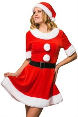 Adult-Women-Sweet-Miss-Mrs-Santa-Costume-Role-Play-Christmas-New-Year-Dress-Up-0