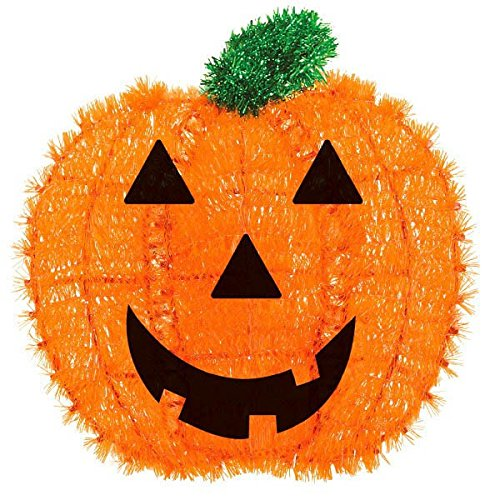 Amscan Friendly Tinsel Pumpkin Halloween Trick or Treat Hanging Decoration, Orange, 13″ x 12″