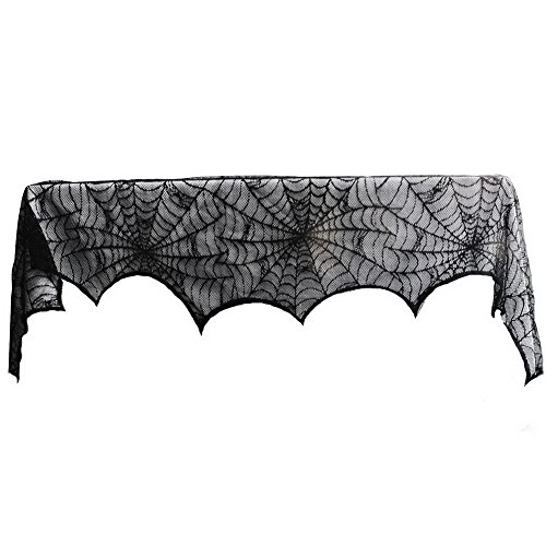 Aytai 18 x 96 inch Cobweb Fireplace Scarf Mysterious Halloween Party Door Window Decoration Lace Black SpiderWeb Mantle Lace Runner Fireplace Scarf Festive Supplies ¡­