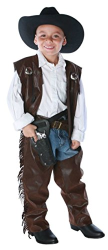 Boys Cowboy Chaps Vest Kids Child Fancy Dress Party Halloween Costume