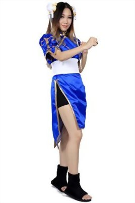 De-Cos-Street-Fighter-II-Cosplay-Chun-Li-1st-Ver-Blue-Fighting-Outfit-Set-0-1