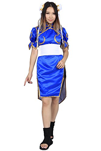 De-Cos-Street-Fighter-II-Cosplay-Chun-Li-1st-Ver-Blue-Fighting-Outfit-Set-0