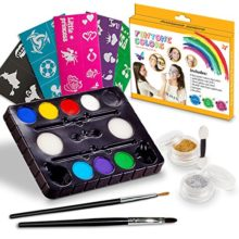 Face-Paint-Kits-Free-40-Stencils-Included-Use-for-Body-Painting-Birthday-Halloween-fan-Sports-or-Kids-Makeup-PartiesOur-Face-Painting-Contains-Palette-8-Colors-GlitterBrushes-Sponges-0