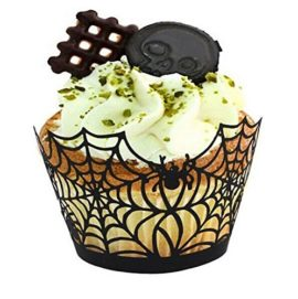 Fashionclubs-Halloween-Party-Spiderweb-Laser-Cut-Paper-Cupcake-Wrappers-Wraps-Liners-Pack-of-24Black-0-0