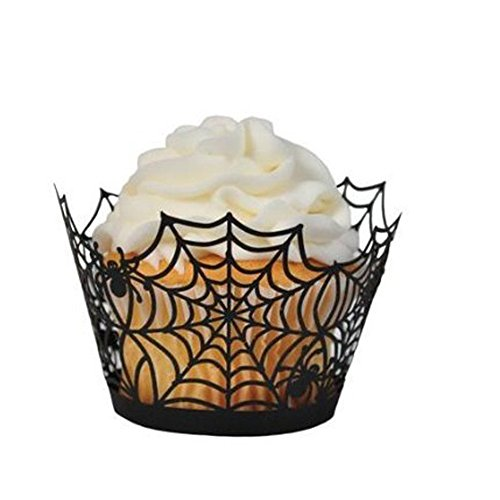 Fashionclubs-Halloween-Party-Spiderweb-Laser-Cut-Paper-Cupcake-Wrappers-Wraps-Liners-Pack-of-24Black-0
